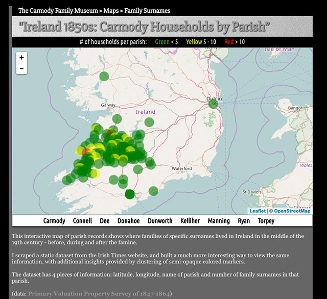 this interactive map shows where people of specific surnames lived in ireland in the 19th century according to parish records